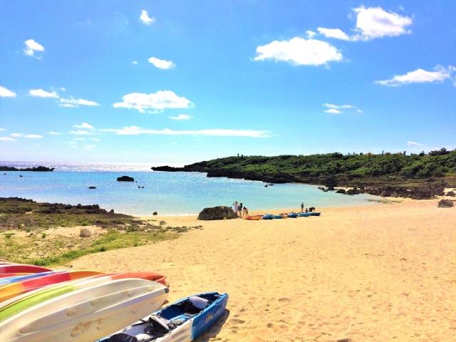 良い天気の砂浜とボート